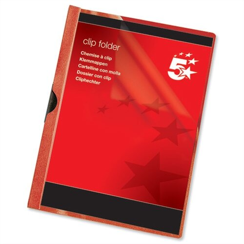 A4 Clip Folder Red Pack 25 5 Star