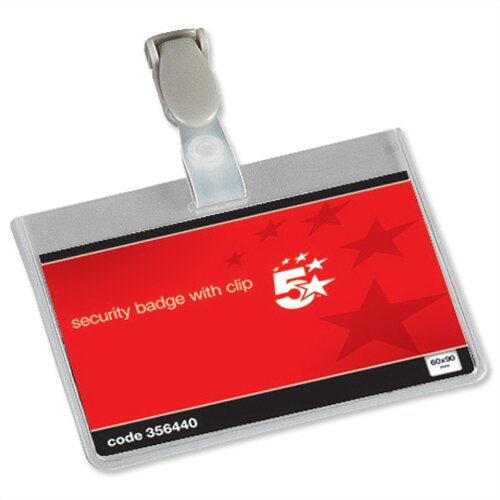 5 Star Office Name Badges Security Landscape with Plastic Clip 90x60mm Pack 25