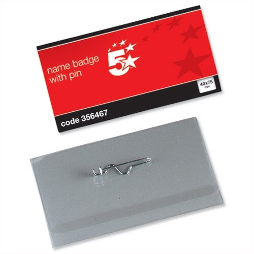 Name Badges with Pin Landscape 40 x 75mm Pack 100 5 Star