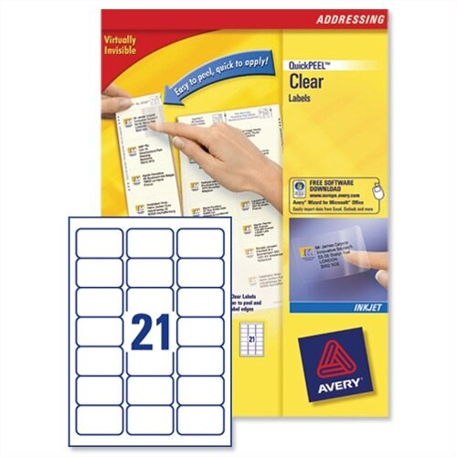 Avery 21 Per Sheet Clear Labels (Pack of 525)