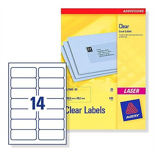 Avery 14 Per Sheet Clear Laser Label (Pack of 350)