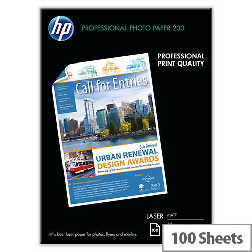 HP A4 Professional Laser Matt Photo Paper 200gsm Pack of 100  - for Color LaserJet Pro MFP M274, MFP M277; LaserJet Pro 400 M401, MFP M175, MFP M26