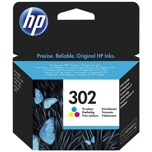 HP 302 - dye-based tricolour  - original - ink cartridge