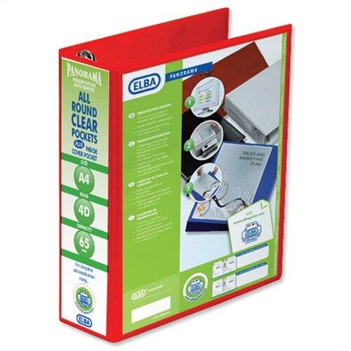 Elba Presentation A4 Ring Binder 65mm Capacity Red 4 D-Ring 560341 Pack 4