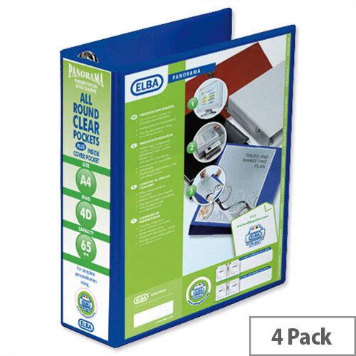 Elba Presentation A4 Ring Binder 65mm Capacity Blue 4 D-Ring 560342 Pack 4