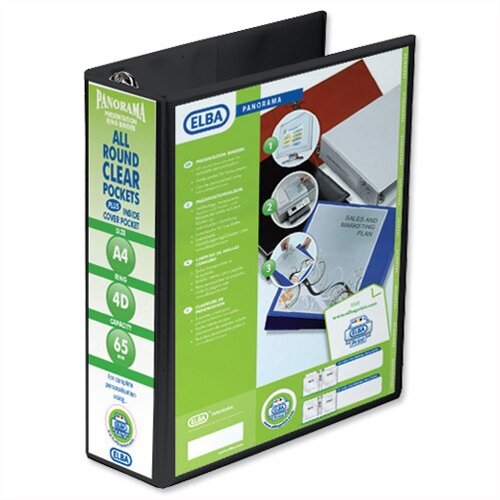 Elba Presentation A4 Ring Binder 65mm Capacity Black 4 D-Ring 560343 Pack 4