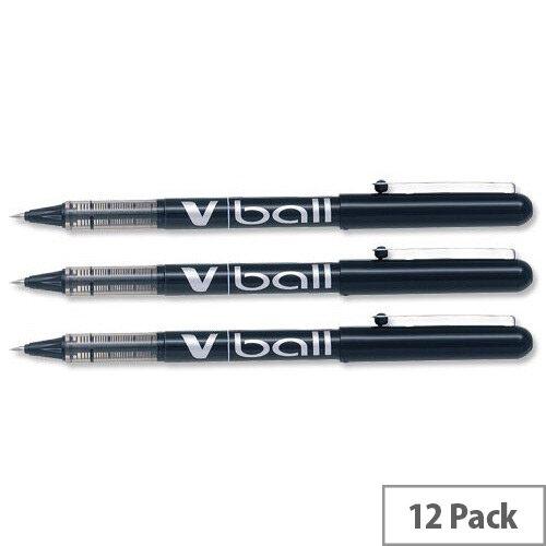 Pilot VB7 Rollerball Pen 0.7mm Tip 0.5mm Line Black Ref BLVB701 [Pack 12]