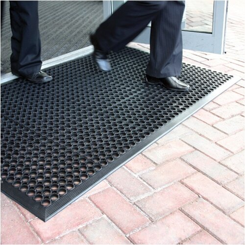 COBA Ramp Entrance Scraper Mat Rubber Hard-wearing 900mm x 1500mm Black Mat. Wheelchair Accessible. Ideal For Protection In Icy Snow Conditions &For Scraping Boots After Outdoor Activity.