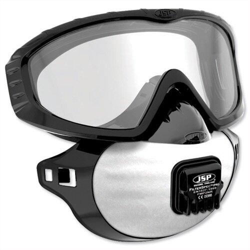 JSP FilterSpec Pro FMP2 Safety Goggle Mask Black 3 Valved Filters Anti-Mist Lens Clear