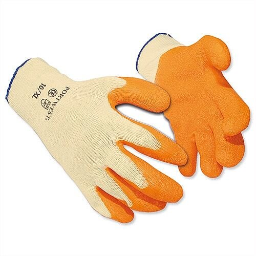 "Portwest FlexLatex Gloves Polyester Cotton Orange L 9""-10"" Pack 12 Ref A150LGE"
