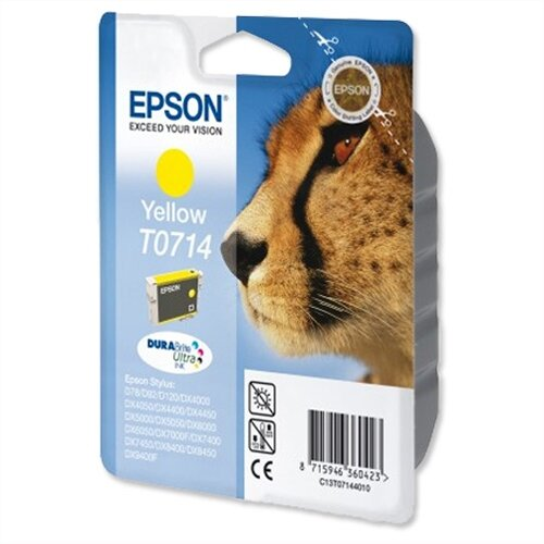 Epson (T0714) Yellow Original Ink Cartridge Cheetah Series (C13T07144012) (C13T07144010)