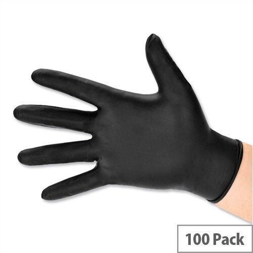 Disposable Nitrile Work Gloves Black Large Box of 100 Polyco Bodyguards GL8973 [Pack 100]