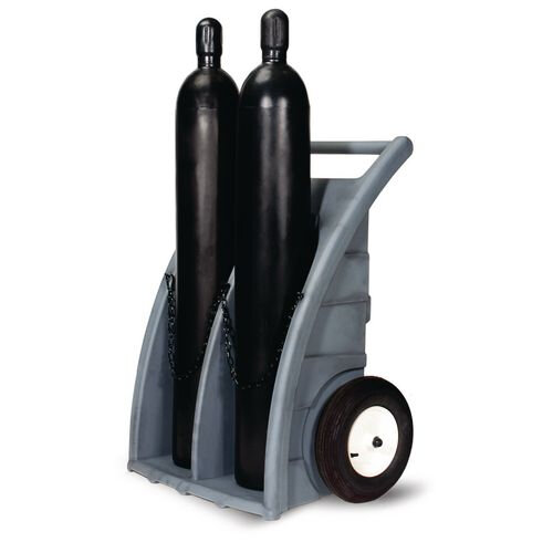 Polyethylene Cylinder Truck For 2 Cylinders Pneumatic Tyred Wheels Capacity 225Kg