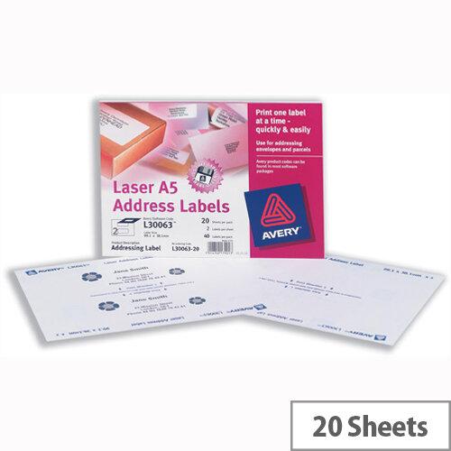 Avery L30063-20 Address Labels Laser A5 99.1 x 38.1mm (40 Labels)