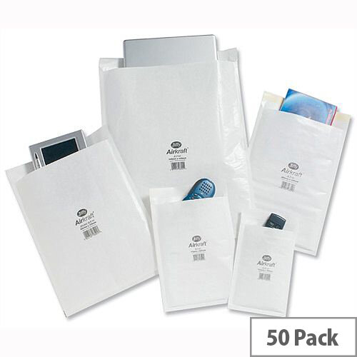 Jiffy AirKraft Size 4 240x320mm White Bubble Lined Bags Pack of 50