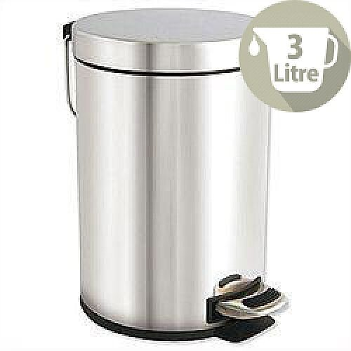 Pedal Waste Bin with Removable Inner Bucket 3 Litres Stainless Steel