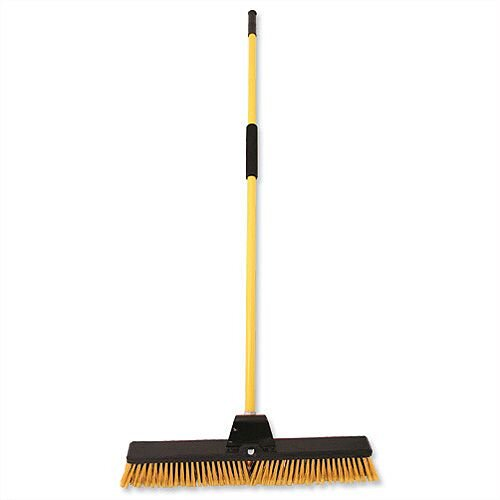 Bulldozer Broom Dual Purpose Soft and Stiff PVC Yard Broom &Metal Handle