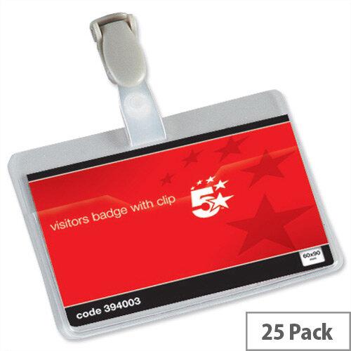 5 Star Office Name Badges Visitors Landscape 25 Pack – Spring Snap Plastic Clip, 90x60mm, Easy Insertion, Sturdy PVC, Transparent &Versatile (394003)