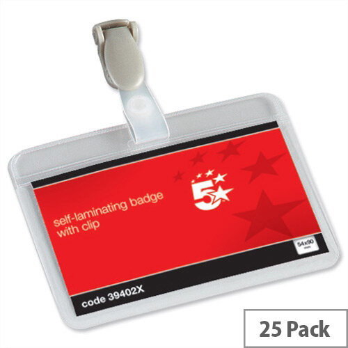 5 Star Name Badges Self Laminating Landscape with Plastic Clip 90x54mm Pack 25