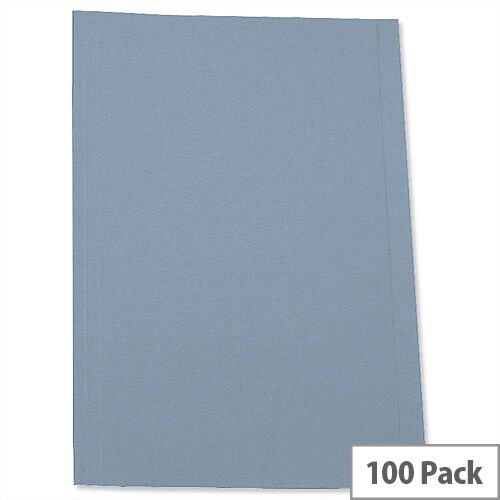 A4 Blue Square Cut Folder Recycled Pre-punched Pack 100 5 Star