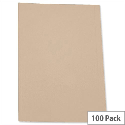 Buff Square Cut Folder Recycled Pre-punched A4 Pack 100 5 Star