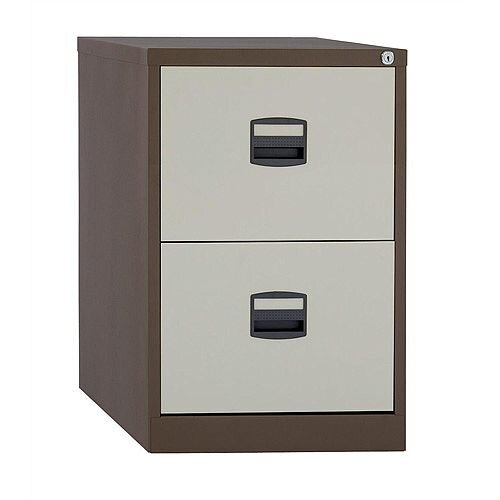 2 Drawer Steel Filing Cabinet Lockable Brown &Cream Trexus By Bisley