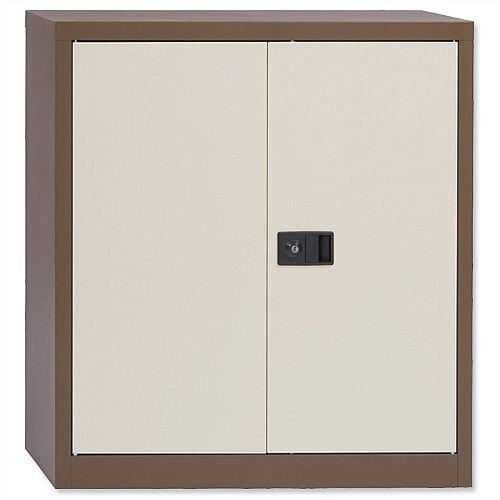 "Bisley Storage Cupboard Steel 2-Door - W914xD400xH1000mm, Brown &Cream, Height Adjustable, 1 Shelf, Three-Point Locking System, 40"", Steel-Made &Warranty (E402A01 AV5AV6)"