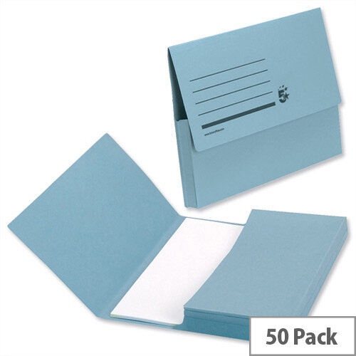 Document Wallet 285gsm Foolscap Blue Pack 50 5 Star
