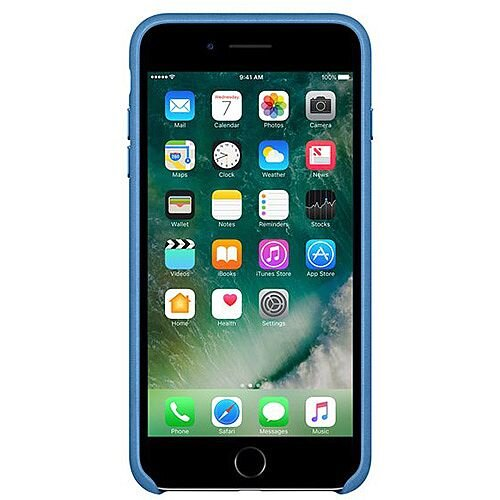 best sneakers 8c59e be1c0 Apple Leather Back Cover For Iphone 7 Plus Sea Blue