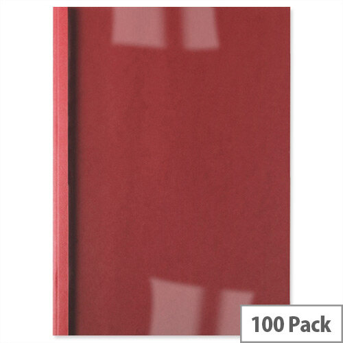 GBC Thermal Binding Covers 6mm Front PVC Clear Back Leathergrain A4 Red Pack 100