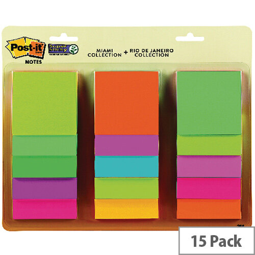 Post-It Super Sticky 76X76mm Rio And Miami Collection Pack of 15 654-15AAMULTI2