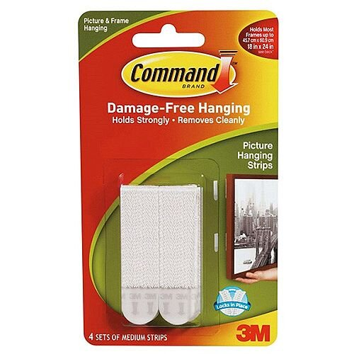 3M Command Medium Picture Hanging Strips Pk4 17201