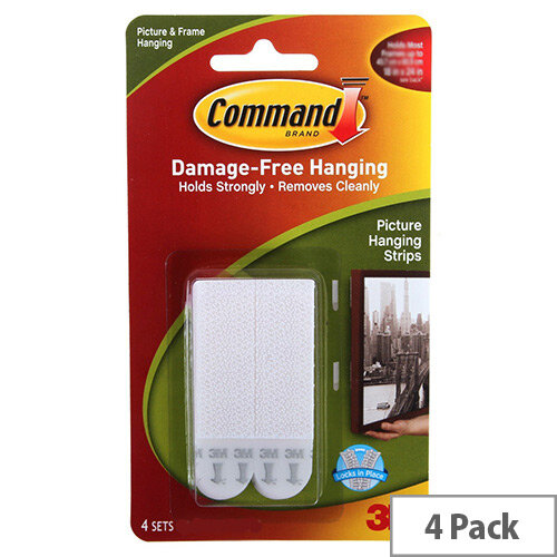 3m Command Large Picture Hanging Strips Pack Of 4 Adhesive Strips