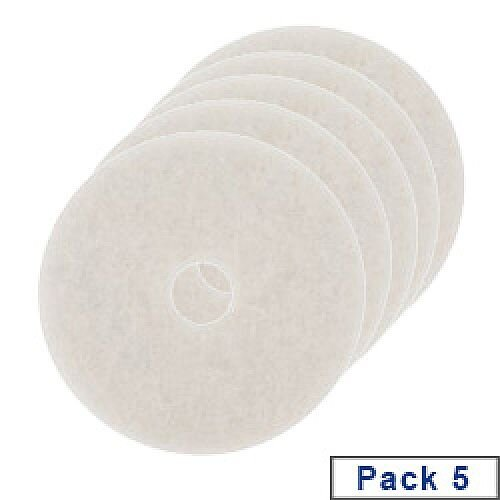3M Economy Floor Pads 380mm White Pack of 5 2NDWH15