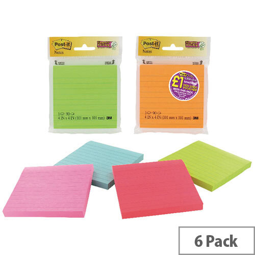 Post-It Assorted Neon/Ultra Super Sticky Notes 4X4 90 Sheets 70005115673