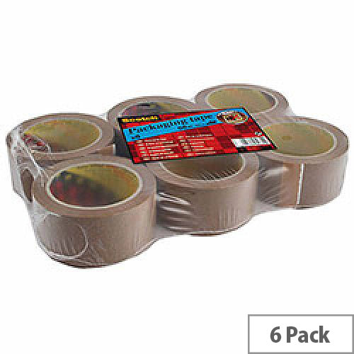 Scotch Buff PVC Packaging Tape 50mm x 66m (Pack of 6)