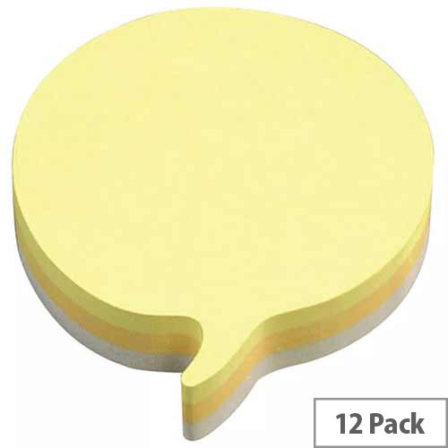 3M Post-it Diecut Cube Speech Bubble 225 Sheets Yellow Pack of 12 3M37917