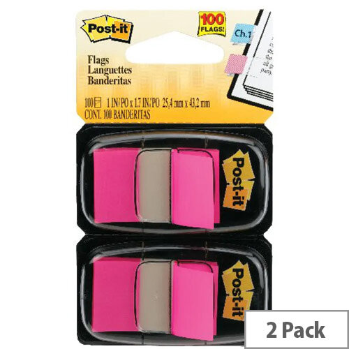 Post-It Index Flag Dispenser Dual Pack Pink 680-BP2EU