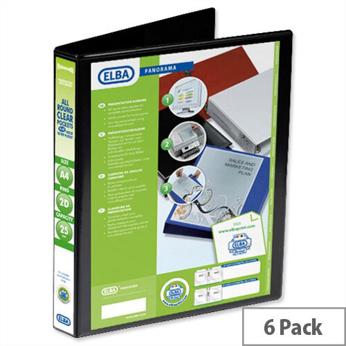 Elba Presentation A4 Ring Binder 25mm Capacity Black 2 D-Ring Pack 6 400008411