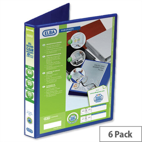 Elba Presentation A4 Ring Binder 25mm Capacity Blue 2 D-Ring 560302 Pack 6