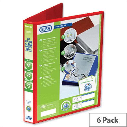 Elba Presentation A4 Ring Binder 25mm Capacity Red 2 D-Ring 560301 Pack 6