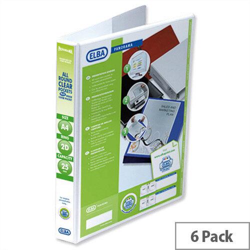 Elba Presentation A4 Ring Binder 25mm Capacity White 2 D-Ring 560300 Pack 6