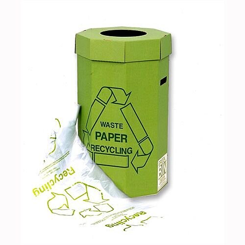 Acorn Cardboard Recycling Bins Capacity 60L Green Pack 5 - Recycling bins for waste paper disposal - Ideal for effective waste separation - Made from 90% recycled material - Supplied flat-packed: easy to assemble