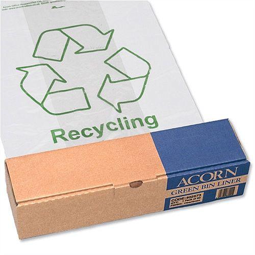 Acorn Green Bin Heavy Duty Clear/Printed Recycling Bin Liner Pack of 50 402573