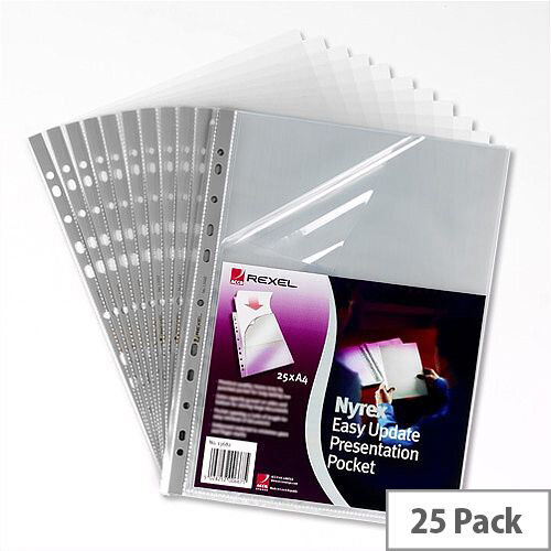 Rexel Top and Side Opening Punched Poly Pocket Clear A4 Grey Strip 90 Micron Pack 25