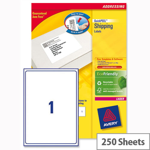 Avery L7167-250 Address Labels Laser 1 per Sheet 199.6 x 289.1mm White 250 Labels