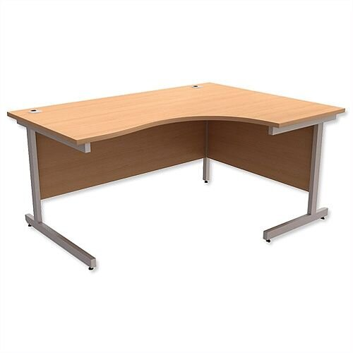 Office Desk Radial Right Hand Silver Legs W1600xD1200xH725mm Beech Ashford