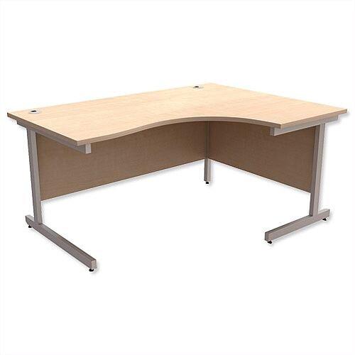 Office Desk Radial Right Hand Silver Legs W1600xD1200xH725mm Maple Ashford