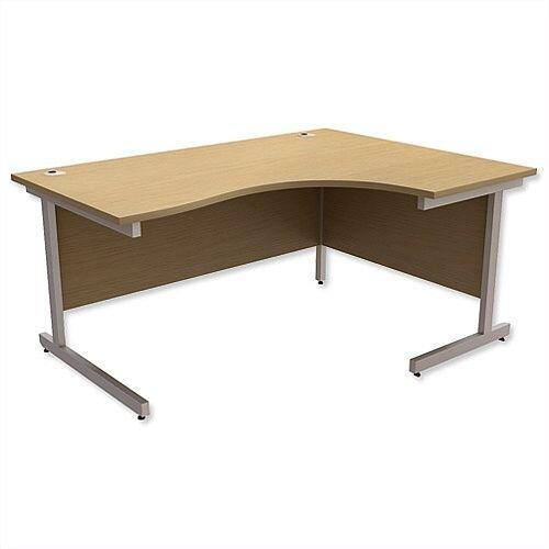 Office Desk Radial Right Hand Silver Legs W1600xD1200xH725mm Urban Oak Ashford
