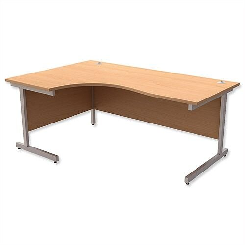 Office Desk Radial Left Hand Silver Legs W1800xD1200xH725mm Beech Ashford
